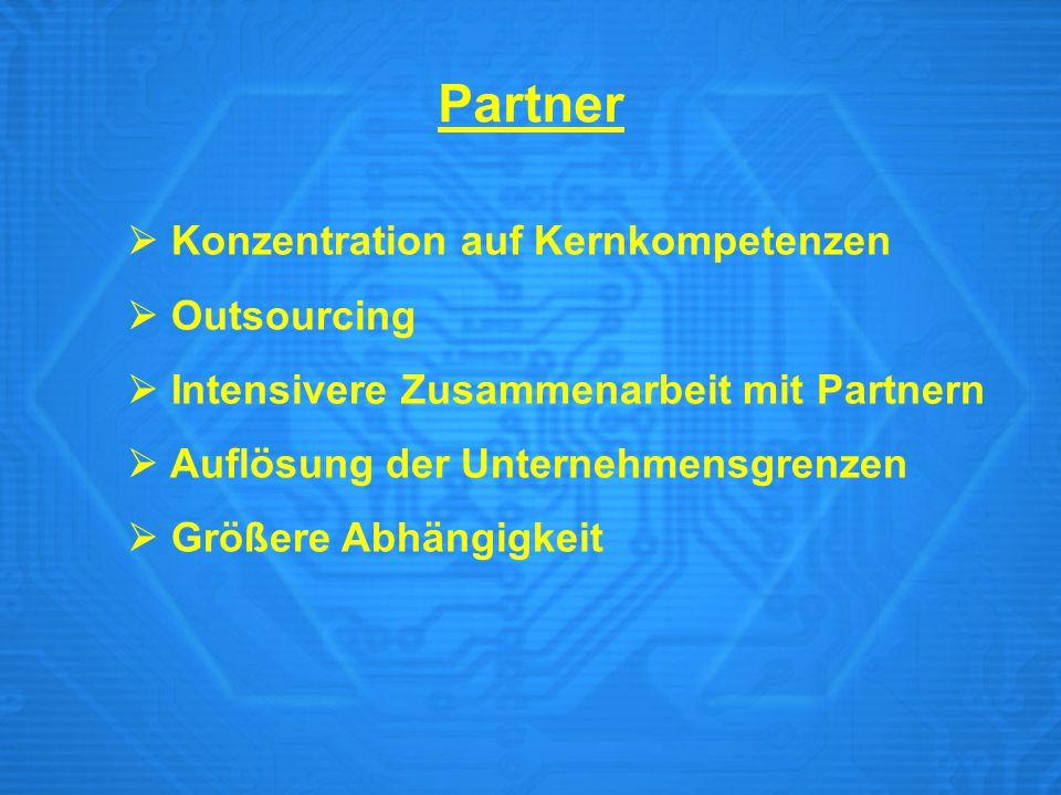 Partner  Konzentration auf Kernkompetenzen  Outsourcing