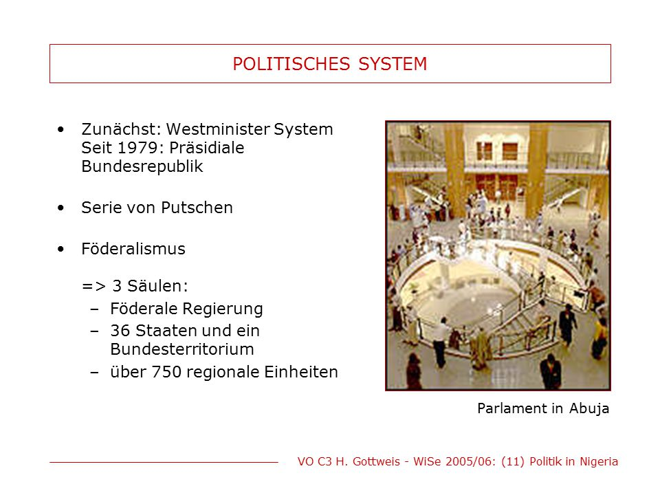POLITISCHES SYSTEM Zunächst: Westminister System Seit 1979: Präsidiale Bundesrepublik. Serie von Putschen.