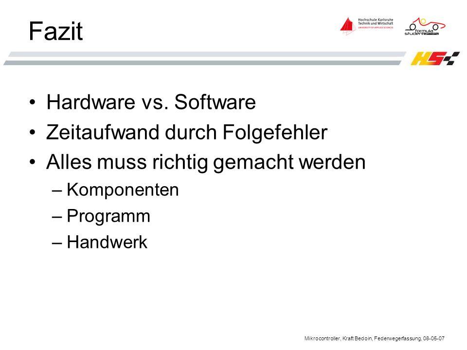 Fazit Hardware vs. Software Zeitaufwand durch Folgefehler