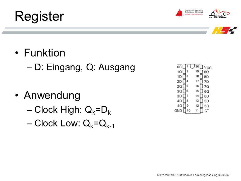 Register Funktion Anwendung D: Eingang, Q: Ausgang Clock High: Qk=Dk