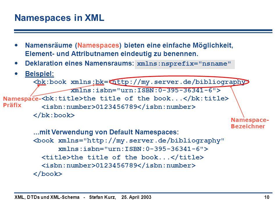 Namespaces in XML Namensräume (Namespaces) bieten eine einfache Möglichkeit, Element- und Attributnamen eindeutig zu benennen.