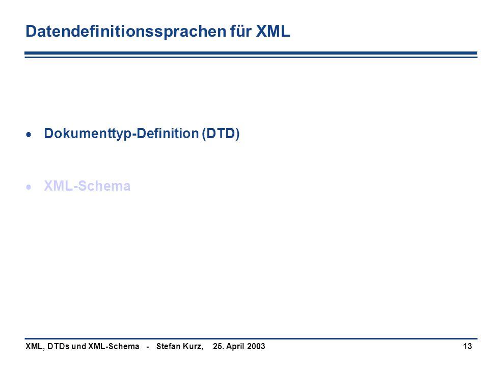 Datendefinitionssprachen für XML