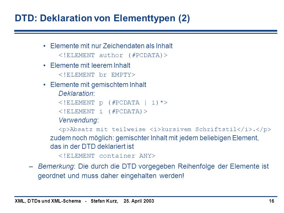 DTD: Deklaration von Elementtypen (2)