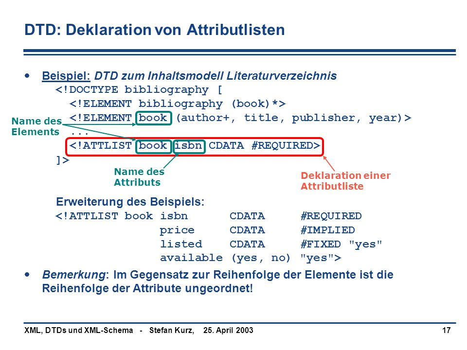 DTD: Deklaration von Attributlisten