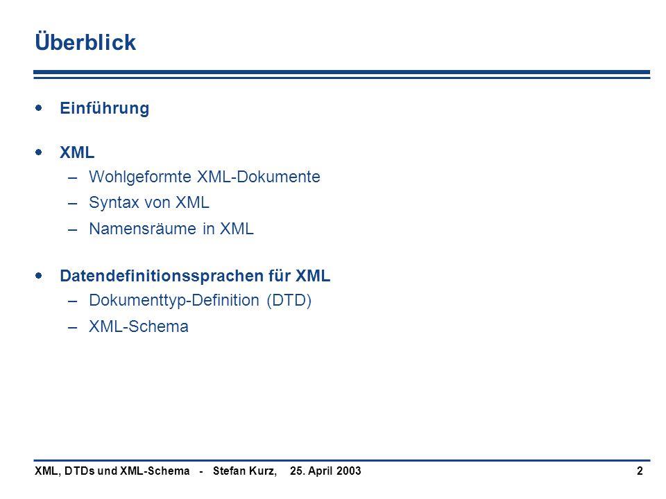 Überblick Einführung XML Wohlgeformte XML-Dokumente Syntax von XML