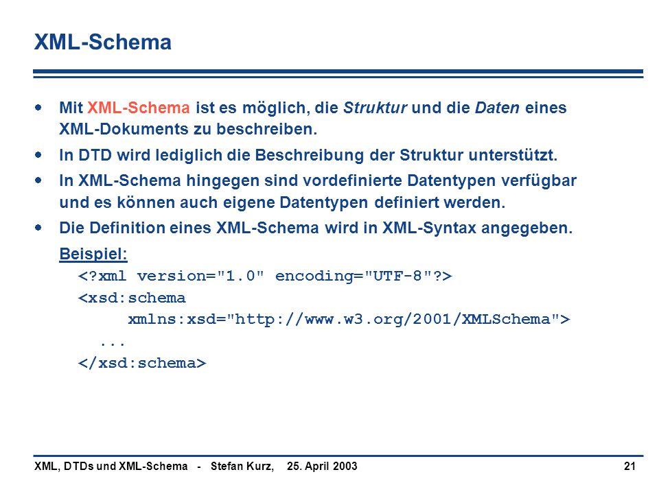 XML-Schema Mit XML-Schema ist es möglich, die Struktur und die Daten eines XML-Dokuments zu beschreiben.