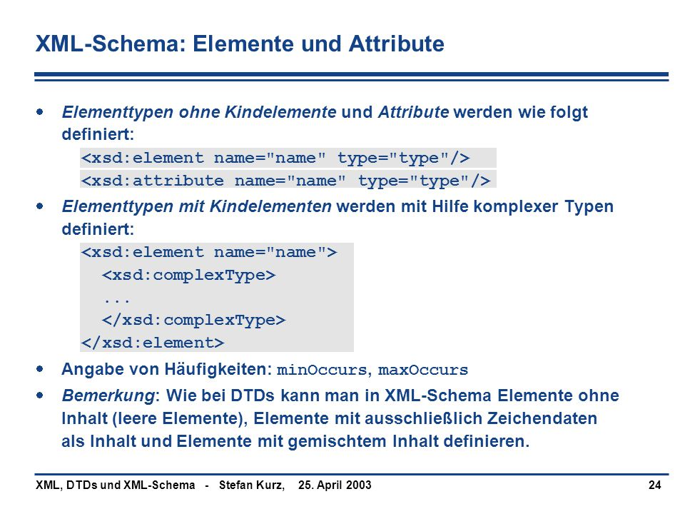 XML-Schema: Elemente und Attribute