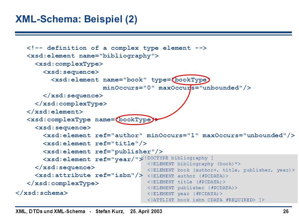 XML-Schema: Beispiel (2)
