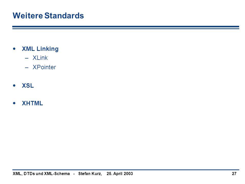 Weitere Standards XML Linking XLink XPointer XSL XHTML