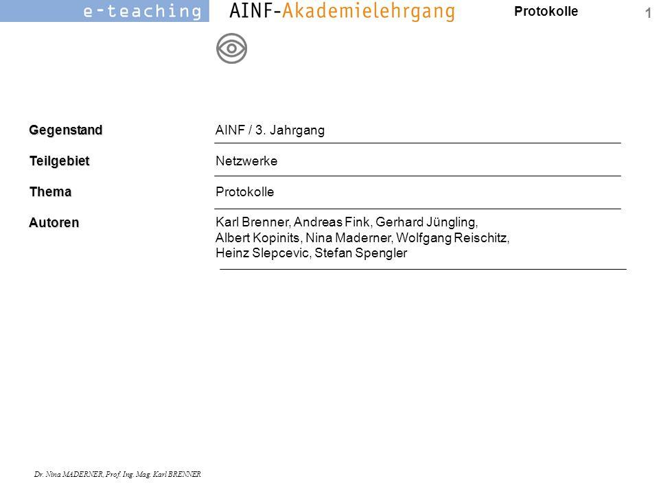 AINF / 3. Jahrgang Netzwerke. Protokolle.