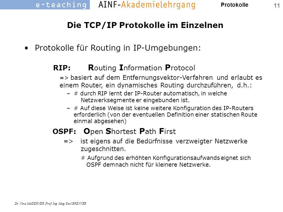 Die TCP/IP Protokolle im Einzelnen