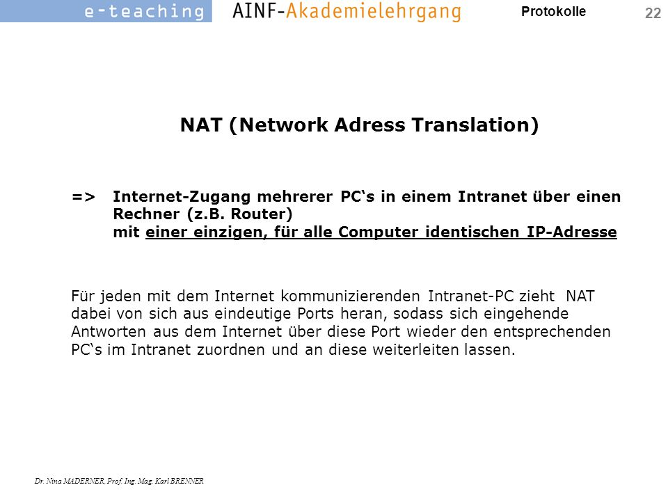 NAT (Network Adress Translation)