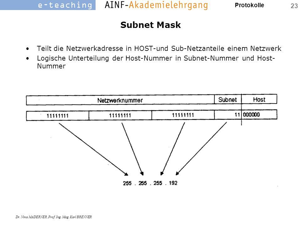 Subnet Mask Teilt die Netzwerkadresse in HOST-und Sub-Netzanteile einem Netzwerk.