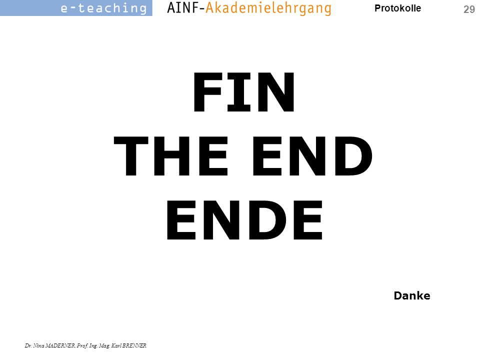 FIN THE END ENDE Danke