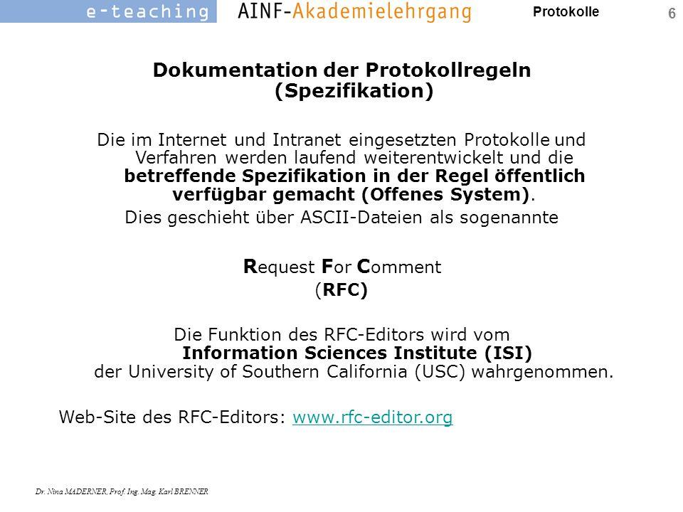 Dokumentation der Protokollregeln (Spezifikation)