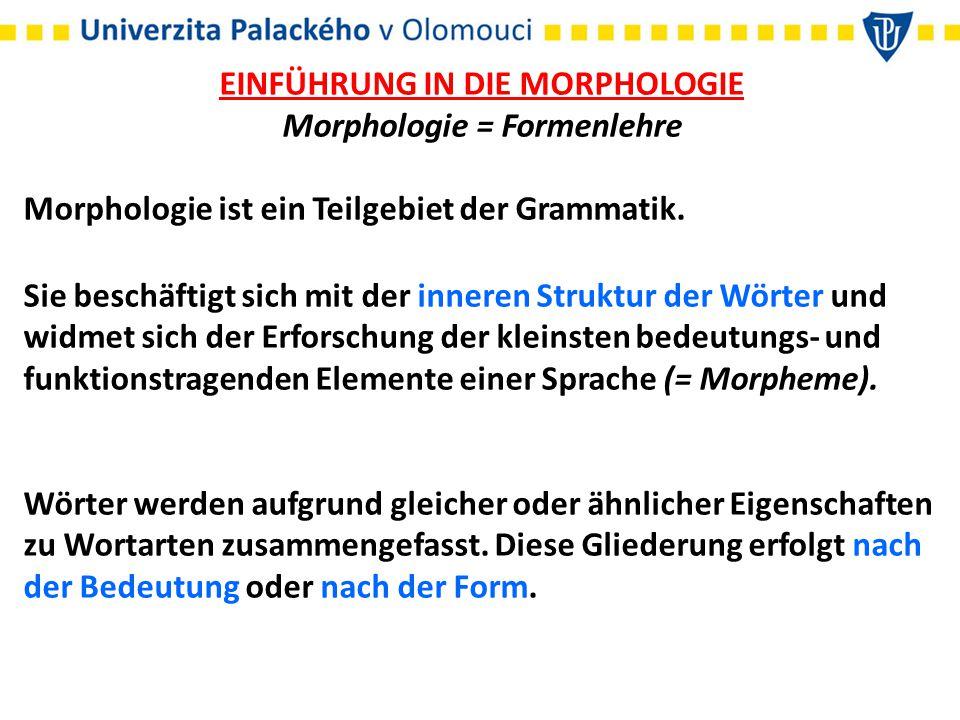 EINFÜHRUNG IN DIE MORPHOLOGIE Morphologie = Formenlehre