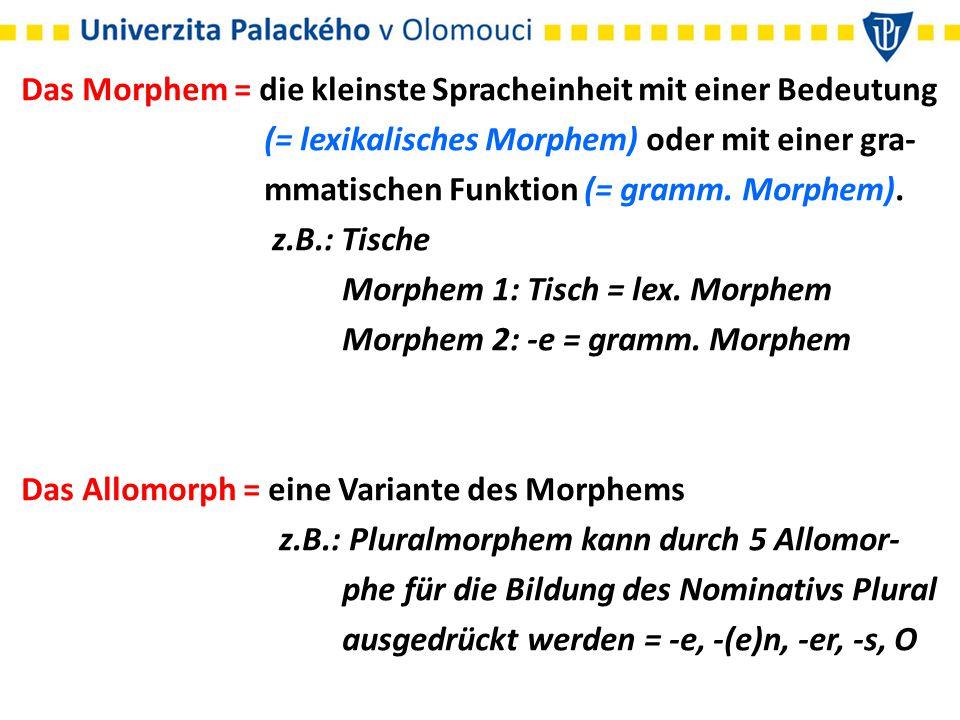 Das Morphem = die kleinste Spracheinheit mit einer Bedeutung