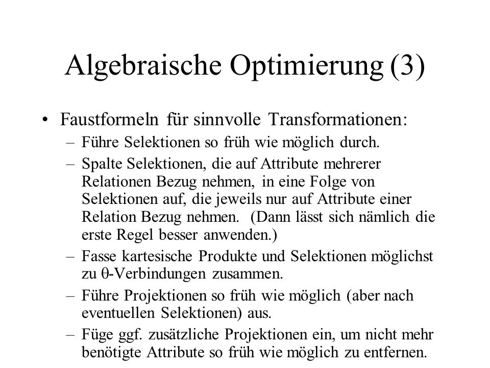 Algebraische Optimierung (3)