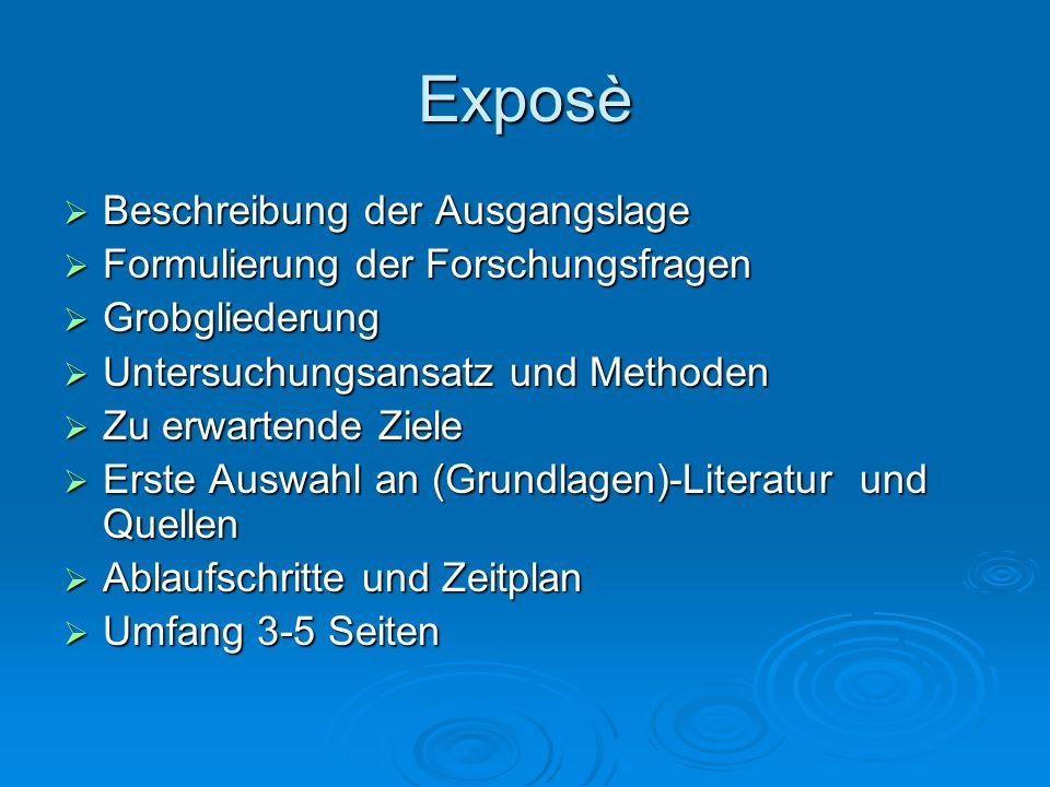 Exposè Beschreibung der Ausgangslage Formulierung der Forschungsfragen