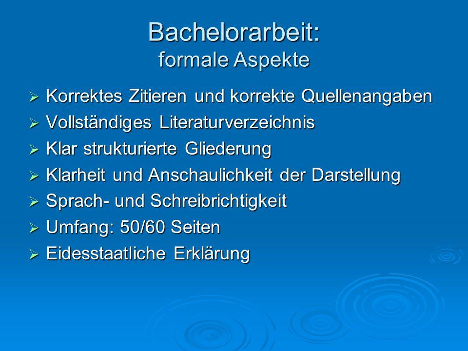 Bachelorarbeit: formale Aspekte