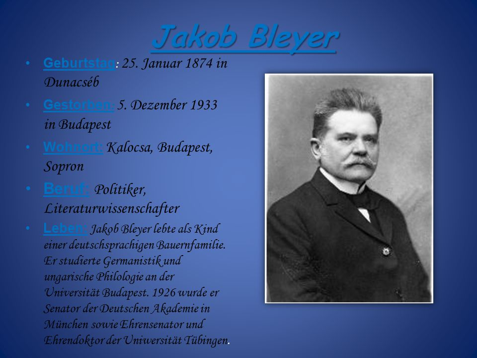Jakob Bleyer Beruf: Politiker, Literaturwissenschafter
