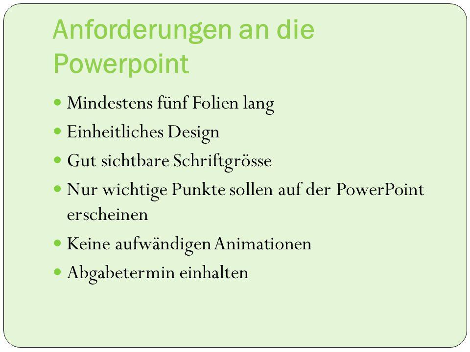 Anforderungen an die Powerpoint