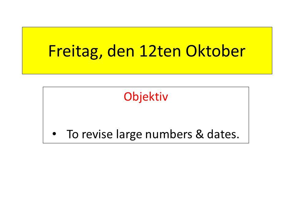 Freitag, den 12ten Oktober