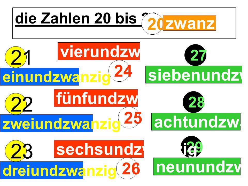 21 22 23 20 zwanzig vierundzwanzig 24 siebenundzwanzig fünfundzwanzig