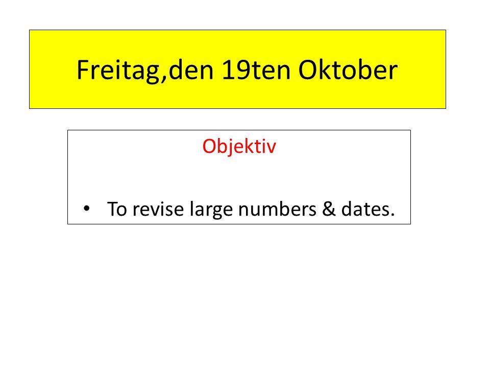 Freitag,den 19ten Oktober