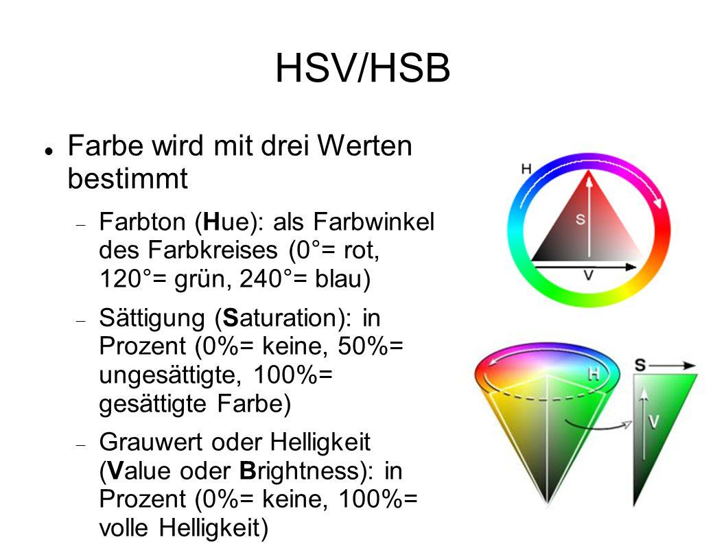 HSV/HSB Farbe wird mit drei Werten bestimmt