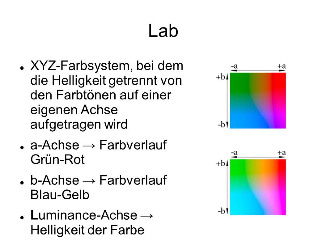Lab XYZ-Farbsystem, bei dem die Helligkeit getrennt von den Farbtönen auf einer eigenen Achse aufgetragen wird.