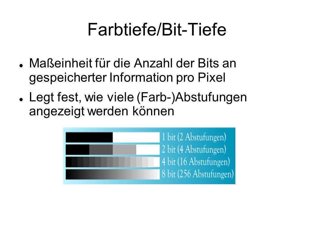 Farbtiefe/Bit-Tiefe Maßeinheit für die Anzahl der Bits an gespeicherter Information pro Pixel.
