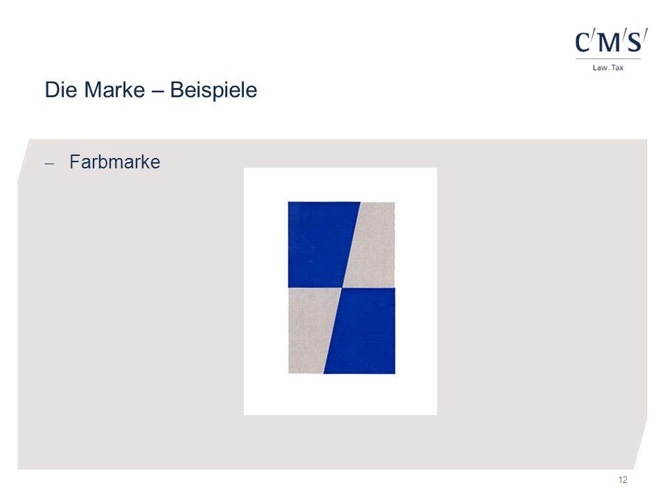 Die Marke – Beispiele Farbmarke