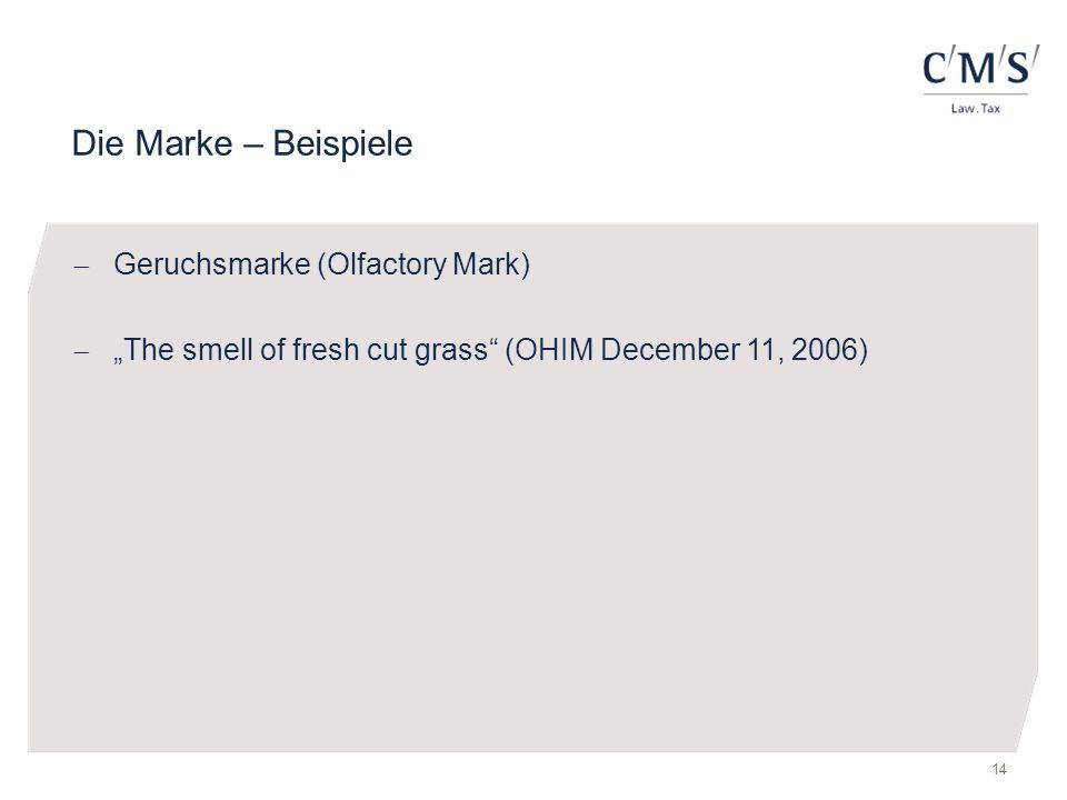 Die Marke – Beispiele Geruchsmarke (Olfactory Mark)