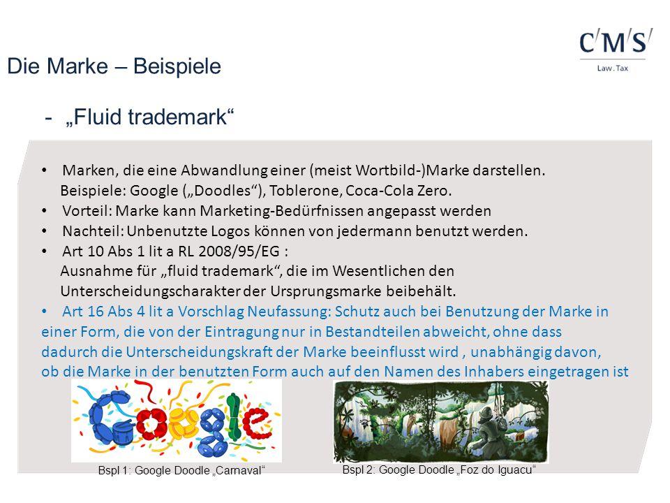 """Die Marke – Beispiele """"Fluid trademark"""