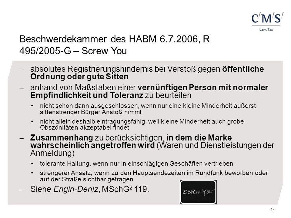 Beschwerdekammer des HABM 6.7.2006, R 495/2005-G – Screw You