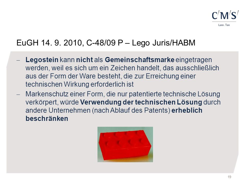 EuGH 14. 9. 2010, C-48/09 P – Lego Juris/HABM