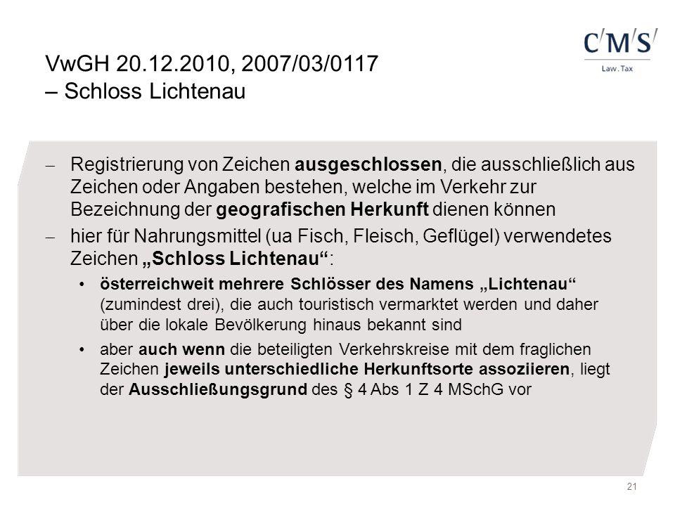 VwGH 20.12.2010, 2007/03/0117 – Schloss Lichtenau