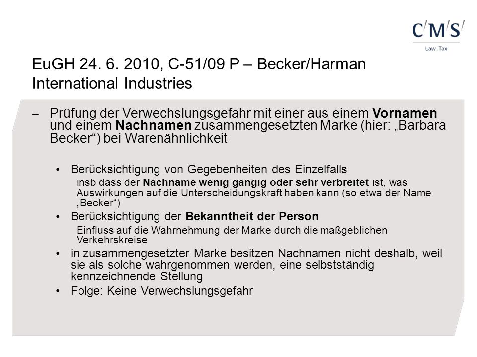 EuGH 24. 6. 2010, C-51/09 P – Becker/Harman International Industries