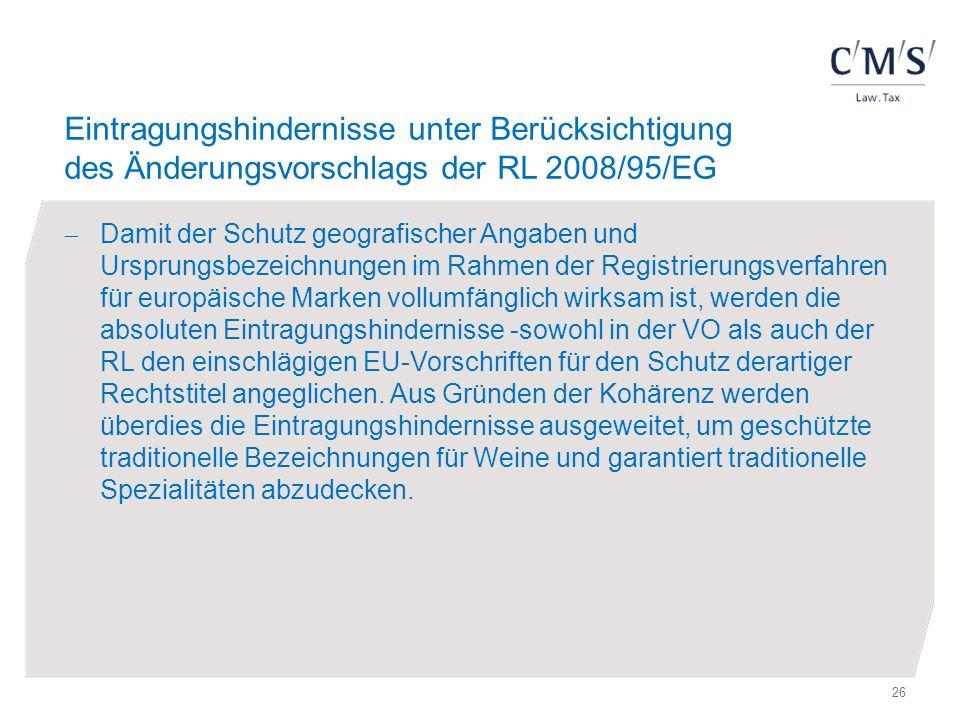 Eintragungshindernisse unter Berücksichtigung des Änderungsvorschlags der RL 2008/95/EG