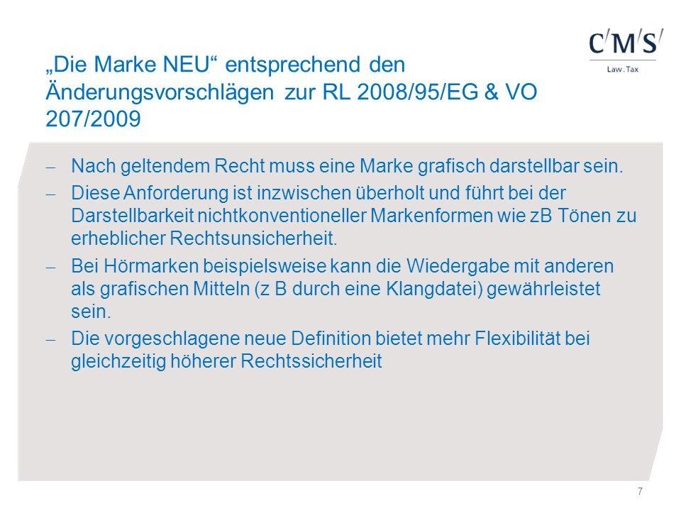 """""""Die Marke NEU entsprechend den Änderungsvorschlägen zur RL 2008/95/EG & VO 207/2009"""