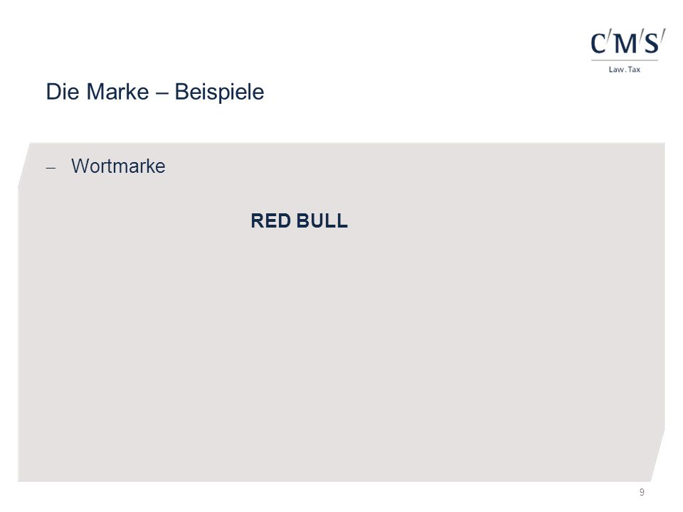 Die Marke – Beispiele Wortmarke RED BULL