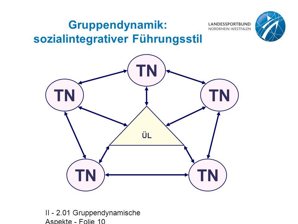 Gruppendynamik: sozialintegrativer Führungsstil