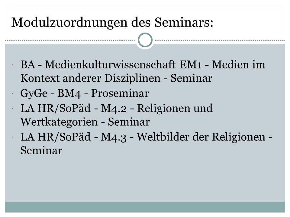 Modulzuordnungen des Seminars: