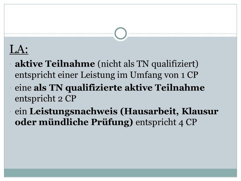 LA: aktive Teilnahme (nicht als TN qualifiziert) entspricht einer Leistung im Umfang von 1 CP.