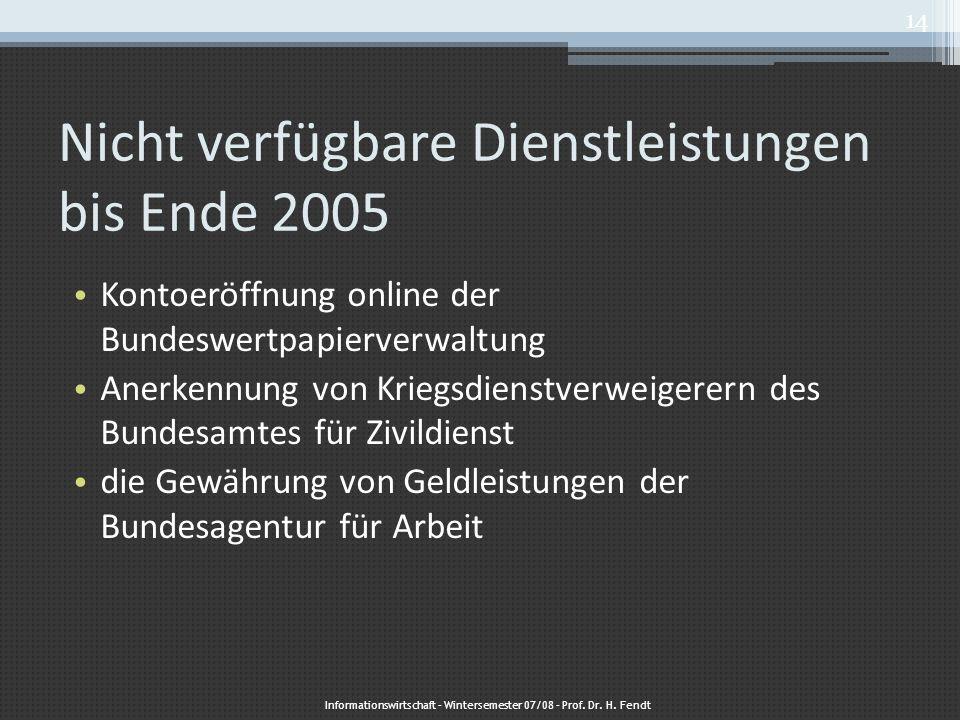 Nicht verfügbare Dienstleistungen bis Ende 2005