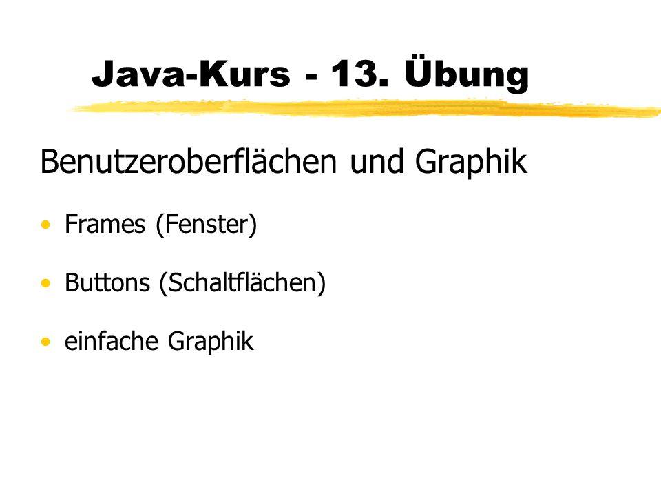 Java-Kurs - 13. Übung Benutzeroberflächen und Graphik Frames (Fenster)