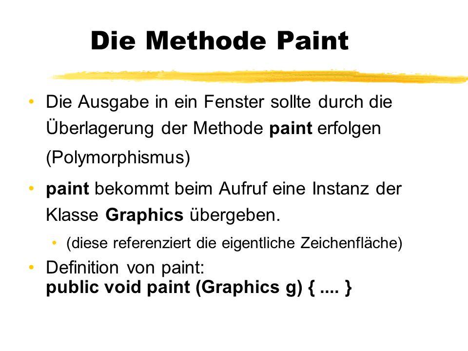Die Methode Paint Die Ausgabe in ein Fenster sollte durch die Überlagerung der Methode paint erfolgen (Polymorphismus)