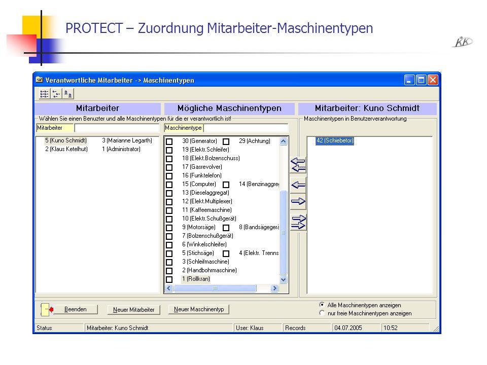 PROTECT – Zuordnung Mitarbeiter-Maschinentypen