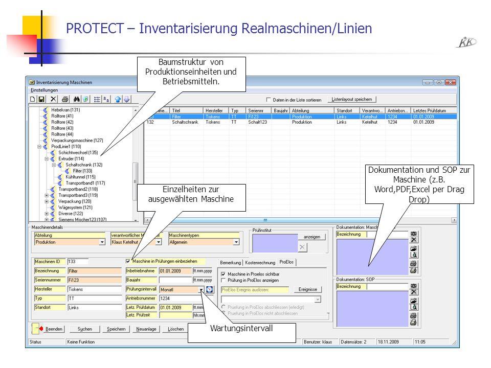 PROTECT – Inventarisierung Realmaschinen/Linien
